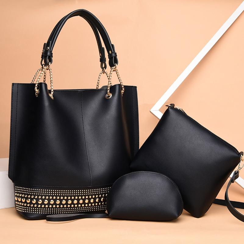 Luxury Designer Women PU Leather Handbags High Quality 3 Pieces Set Shoulder Bag Fashion Rivet Casual Female Tote Crossbody Bags