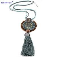 Новые женские аксессуары богемные этнические длинные бахромы хлопок tassle Подвески ожерелье ручной работы символ мира ожерелье