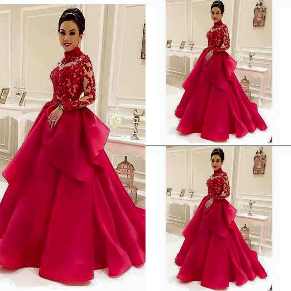 Aliexpress Com Buy Simple Elegant See Through Lace Part: Aliexpress.com : Buy High Neck Red See Through Long Sleeve