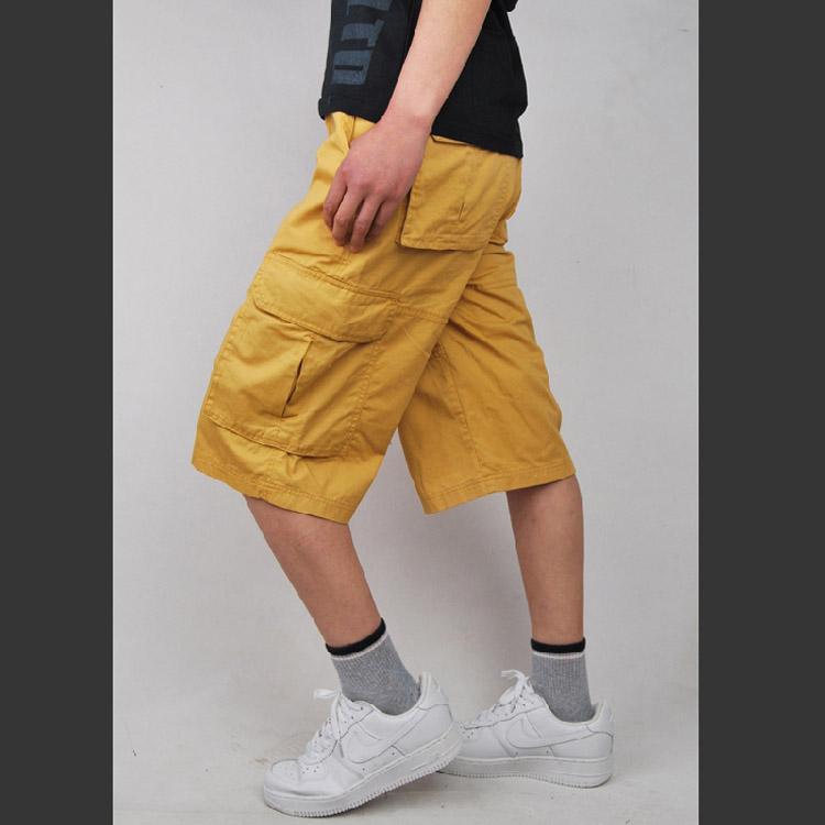 Multi-pocket Grey Green baggy Yellow Men's Cargo Shorts Plus Size 30-44 Cotton baggy