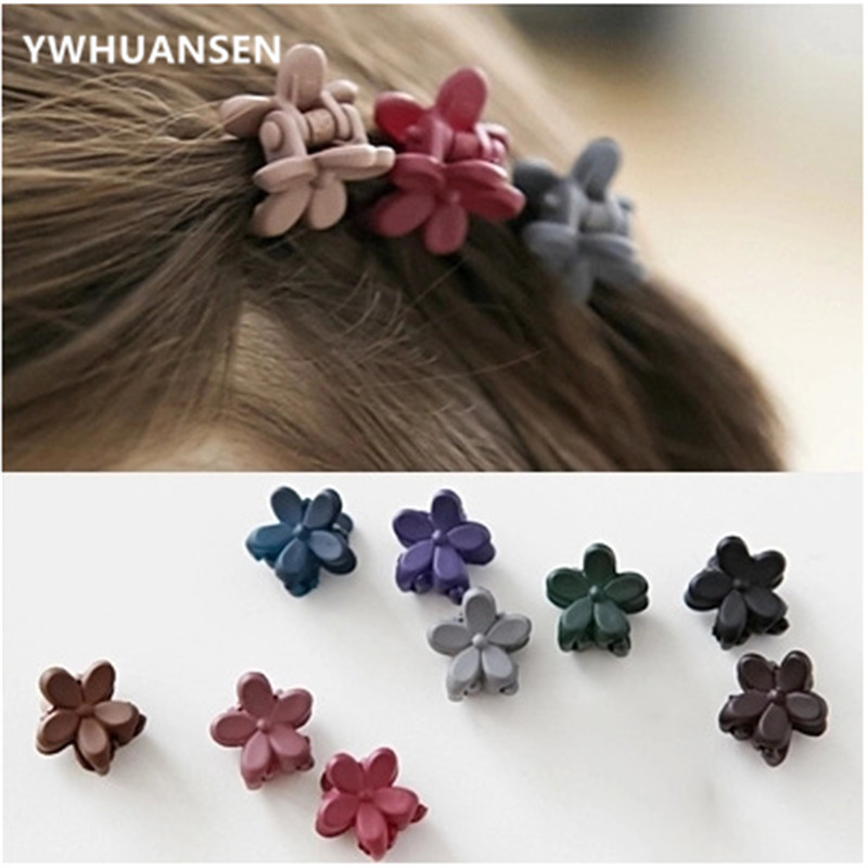 YWHUANSEN 10 Pcs New Fashion Baby Girls Small Hair Claw Cute Candy Color Flower Hair Jaw Clip Children Hairpin Hair Accessories