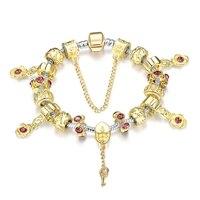 Lüks Modası Kadın Charm Güzel Takı Avrupa Çiçek Anahtar Şekil Bilezik Gümüş/Altın Kaplama DIY Kadınlar Sarı Boncuk Bileklik