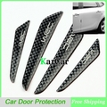 New Arrival 1Set Fashion Black Carbon Fiber Car Door Protective Stickers, Car Door Side Edge Molding Protection Board