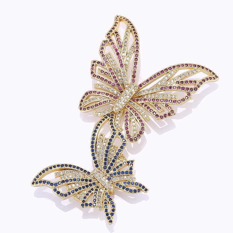 Luxury Zircon Crystal Double Butterfly Charms Pendants For Jewelry Making Diy Handmade Fit Necklaces Brooch Jewellery Fittings