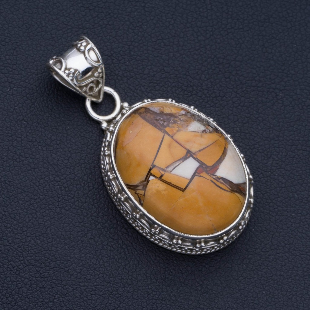Natural Brecciated Mookaite Punk Style 925 Sterling Silver Pendant 1 3/4 P0703Natural Brecciated Mookaite Punk Style 925 Sterling Silver Pendant 1 3/4 P0703