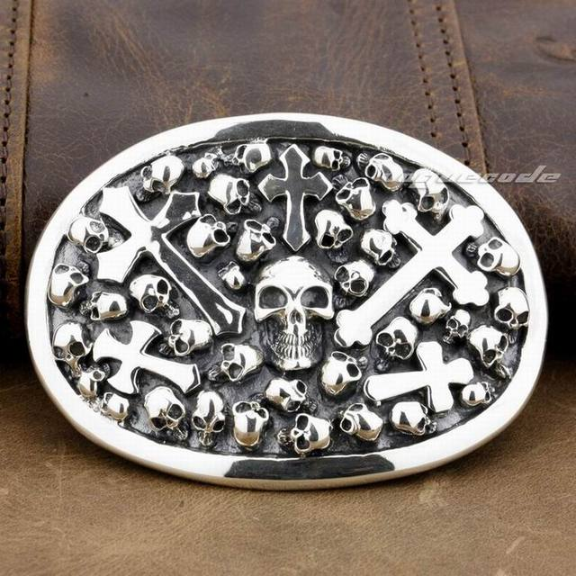 925 Sterling Silver Skull Cross Mens Biker Belt Buckle 9C005