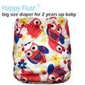 Happyflute grande xl fralda de bolso para 2 anos acima do bebê, interior suedecloth, PUL exterior, tamanho ajustável, ajuste da cintura 36-58 cm