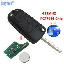 OkeyTech флип пульт дистанционного ключа Fob 3 кнопки 433 мГц PCF7946 чип HU100 лезвие для Vauxhall Opel Vectra C Signum авто Замена ключа