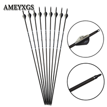 5/10/20pcs Archery Spine 350 Carbon Arrow Rubber Feather 32 inch Pure Material Shaft Hunting Bow And Shooting