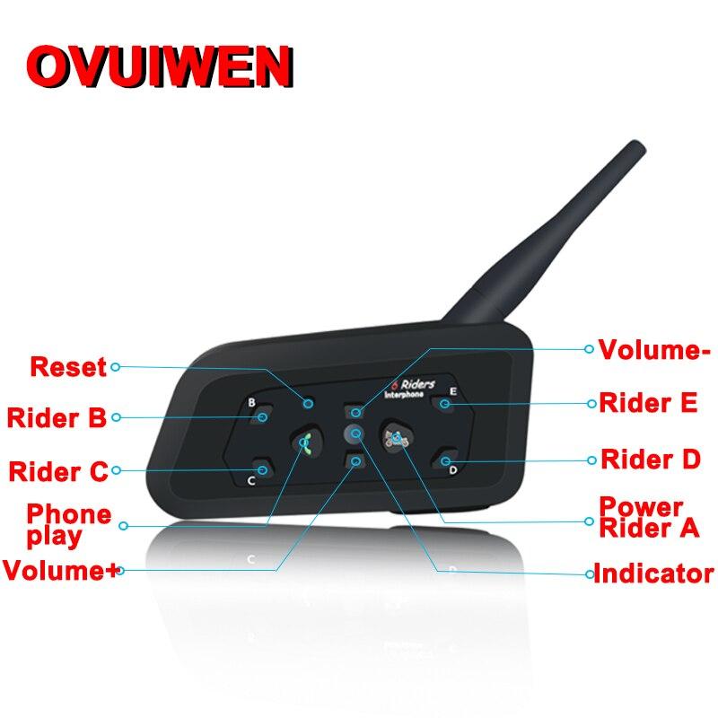 2 шт. V6 мотоциклетный Bluetooth шлем гарнитуры интерком для 6 всадников BT беспроводной Intercomunicador интерфон MP3 Bluetooth гарнитура