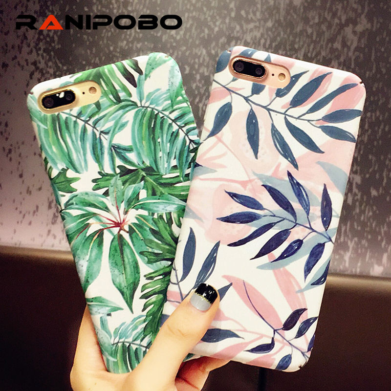 Fashion Artistic Leaf Phone Case For iPhone 7 6 6S 8 Plus frosted Hard Bags For iPhone6S X leaves Back Cover Funda Shell