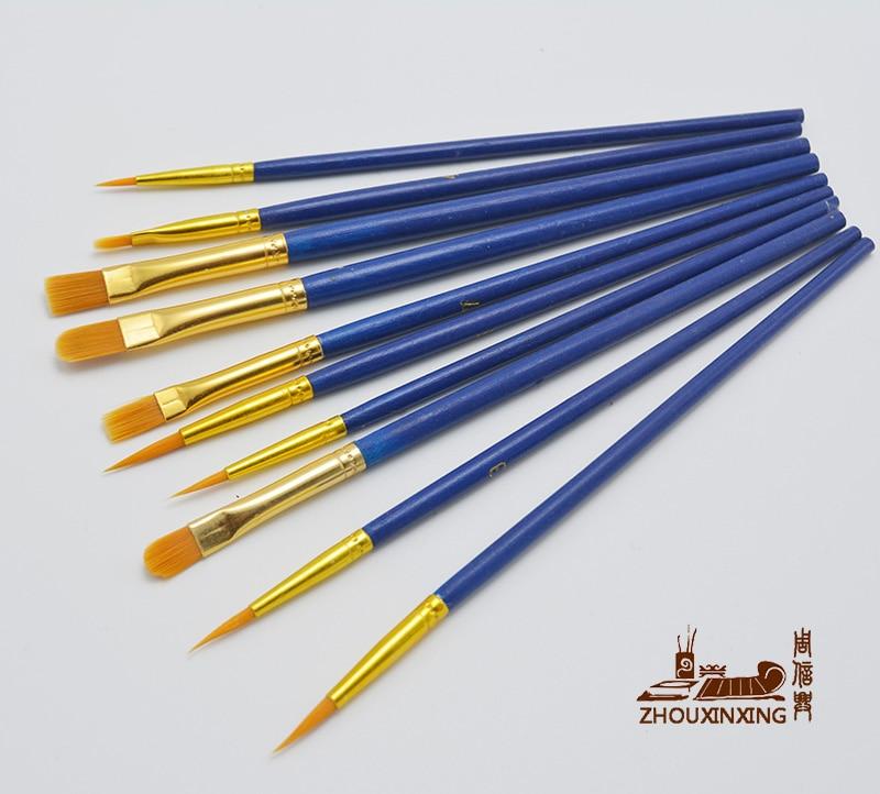 10Pcs/Set Multifunction Kids Student Watercolor Gouache Painting Pen Nylon Hair Wooden Handle Paint Brush Drawing Art Supplies