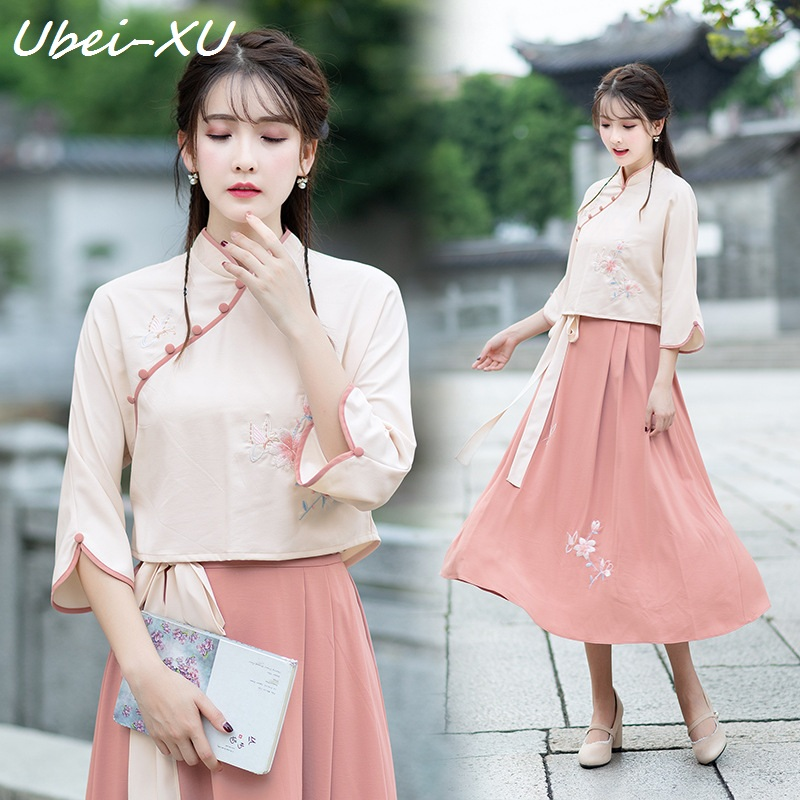 Ubei Spring China HanFu new vintage embroidered blouse with long skirt sets women two pieces Chinese style dress