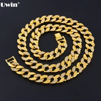 Fashion Gold Silver Plated Finish Iced Out Hip Hop CZ Chain & Mens Miami Cuban Necklace Hiphop Chain Jewelry
