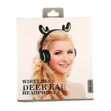 Wireless  Bluetooth Stereo Deer-Style Headphones Color changing LED With Sports Dropping