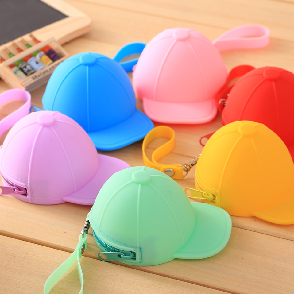 ZGTGLAD 1Pcs New Candy Color Cute Coin Purse Key Money Pouch Wallet Baseball Cap Silicone Bag Gifts Favors