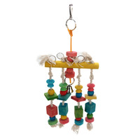 Colorful Parrot Pet Bird Macaw Hanging Chew Toy Bells Wood Blocks Swing Mix Color Chewing Drop