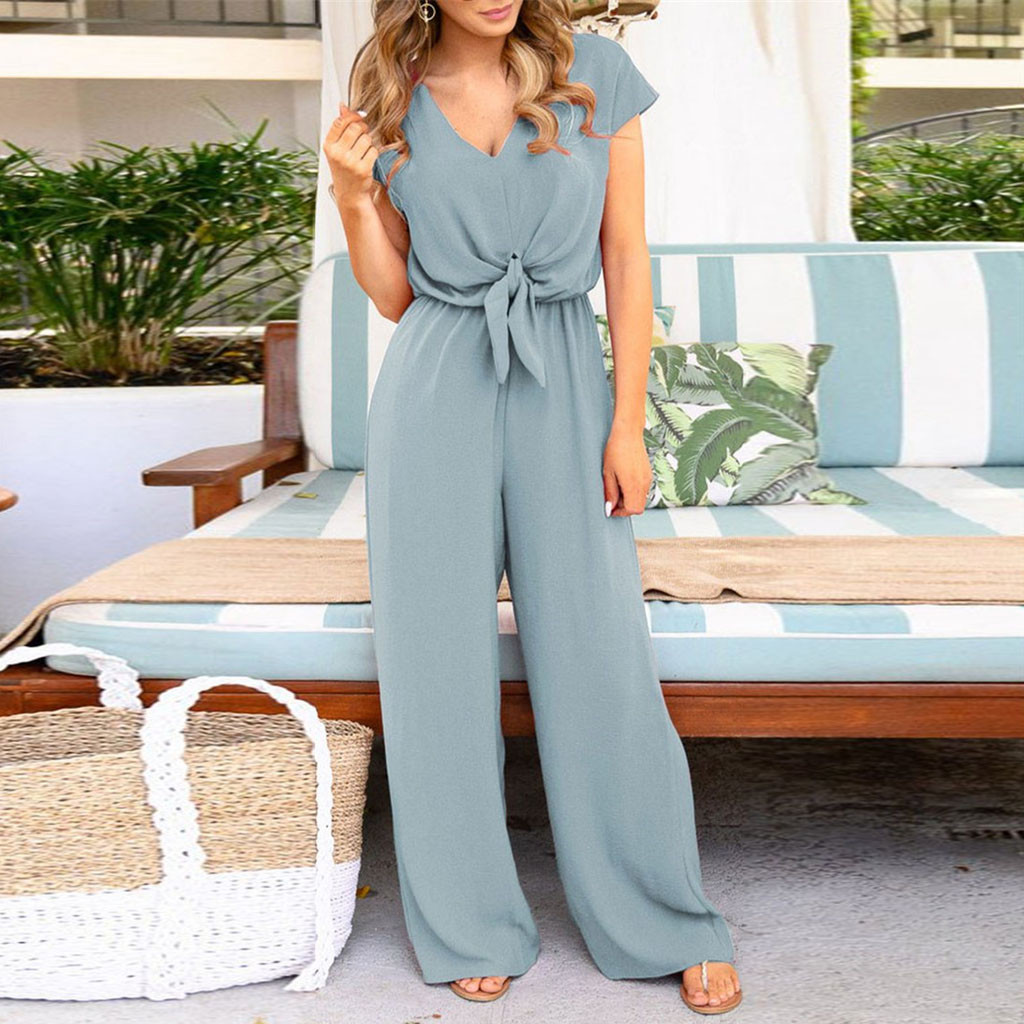 Fashion Women Lace O Neck Loose Playsuit Party Romper Short Sleeve Long Jumpsuit