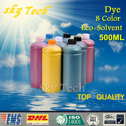500ML*8  Dye Eco Solvent Ink suit for Epson 7600 9600 printhead Flatbed Printer, for wood , Leather , metal ,ceramic ,PVC free shipping 6 colors eco solvent ink for epson stylus photo t50 printer ink