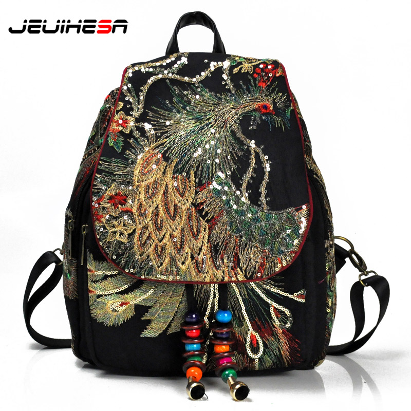2019 Chinese Style Embroidery Canvas Women Backpack Travel Shoulder Bag Beading Bagpack Female High Quality School Bag For Girls