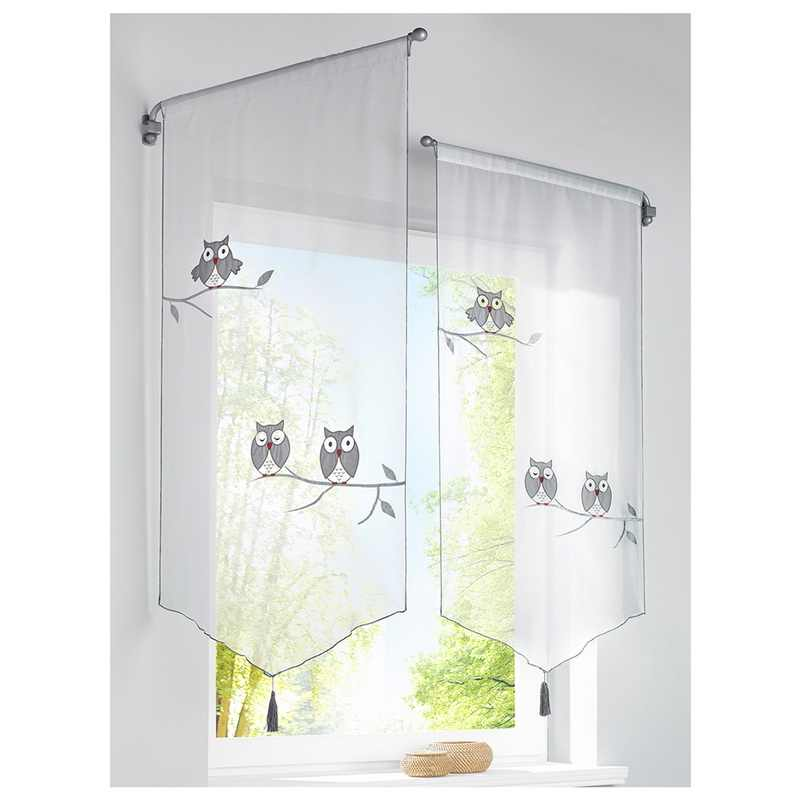 Creative Short Curtains Owl Pattern Roman Blinds Curtains For The Kitchen White Sheer Tassel Tulle Window Curtains VC