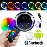 7 RGB Multi Color LED Halo Angel Eye H4 Headlamp Round LED Projection Headlight for Motorcycles