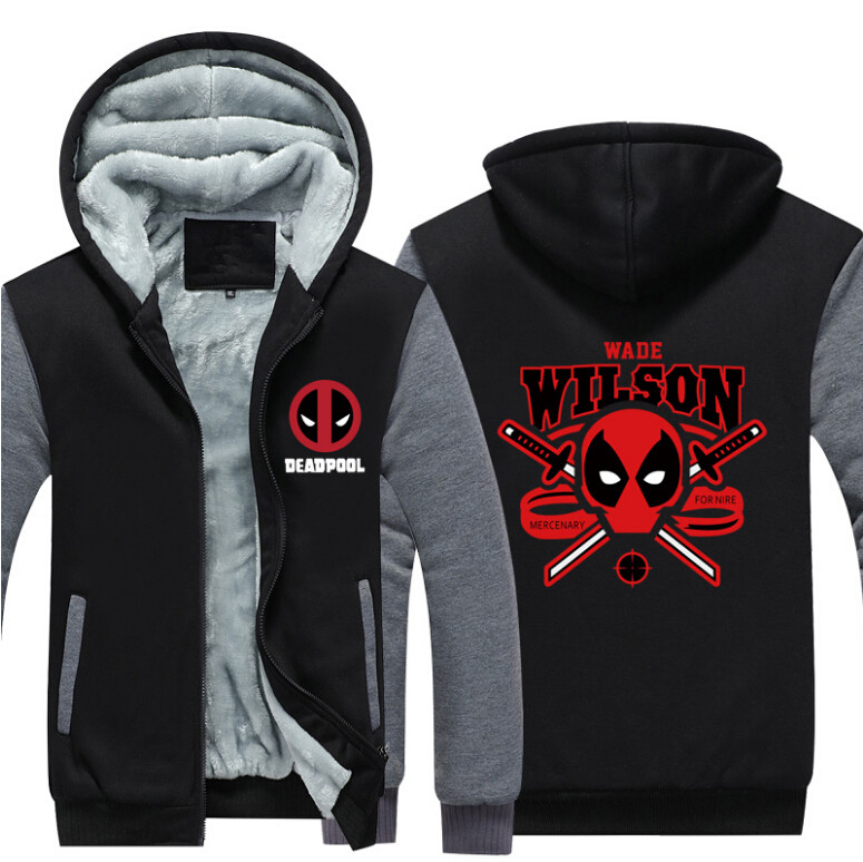 Hot USA Size Men Hoodies Deadpool 2 Cosplay Costume Winter Warm Thicken Hoodie Coat Jacket Fleece Zipper Sweatshirts