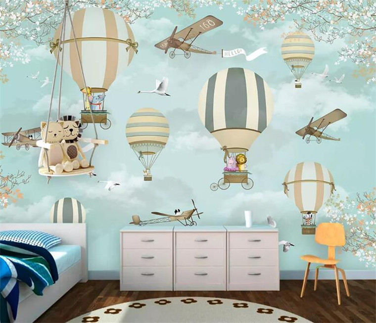 Us 9 8 30 Off Blue Cloud Airplane Fire Balloon Cartoon Wallpaper Murals For Kids Child Baby Room Papel Mural Wall Paper In