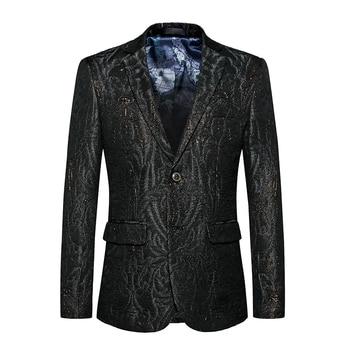 LEFT ROM 2019 High-end brand Men autumn slim Fitbusiness BLAZERS/Men wedding groom's best man Single button sui dress S-6XL