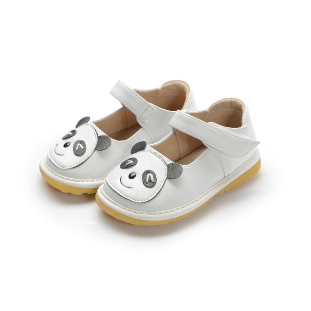 Pouco panda couro shoes antiderrapante da criança do bebê 1-3y bebê squeaky shoes