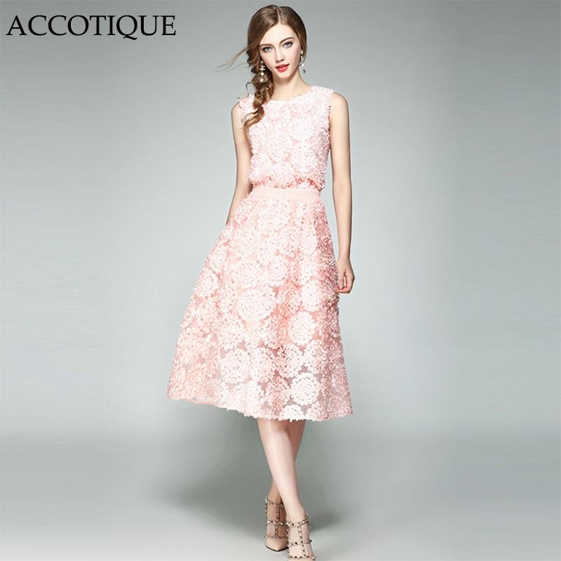 High Quality New Summer Womens Fashion Pink Dimensional Floret O Neck Shirt Elegant Mesh skirt 2