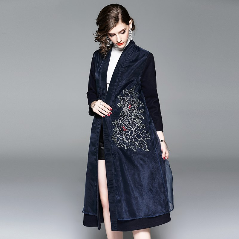 Organza Embroidery Floral Long Coat Women Winter High Quality Elegant Mid age Mother V neck Cardigan