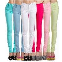 Hot koop Vrouwen Katoen Slanke Skinny palazzo Broek Snoep kleuren Kleurrijke Denim Jeans Potlood Broek pantalon mujer Broek vrouwen 28
