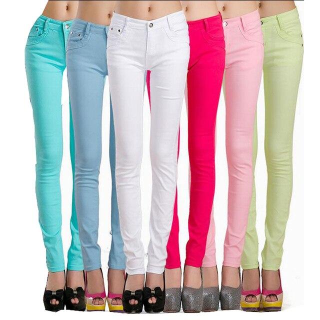 495e6df405a Hot sale Women Cotton Slim Skinny palazzo Pants Candy colors Colorful Denim  Jeans Pencil Pants pantalon