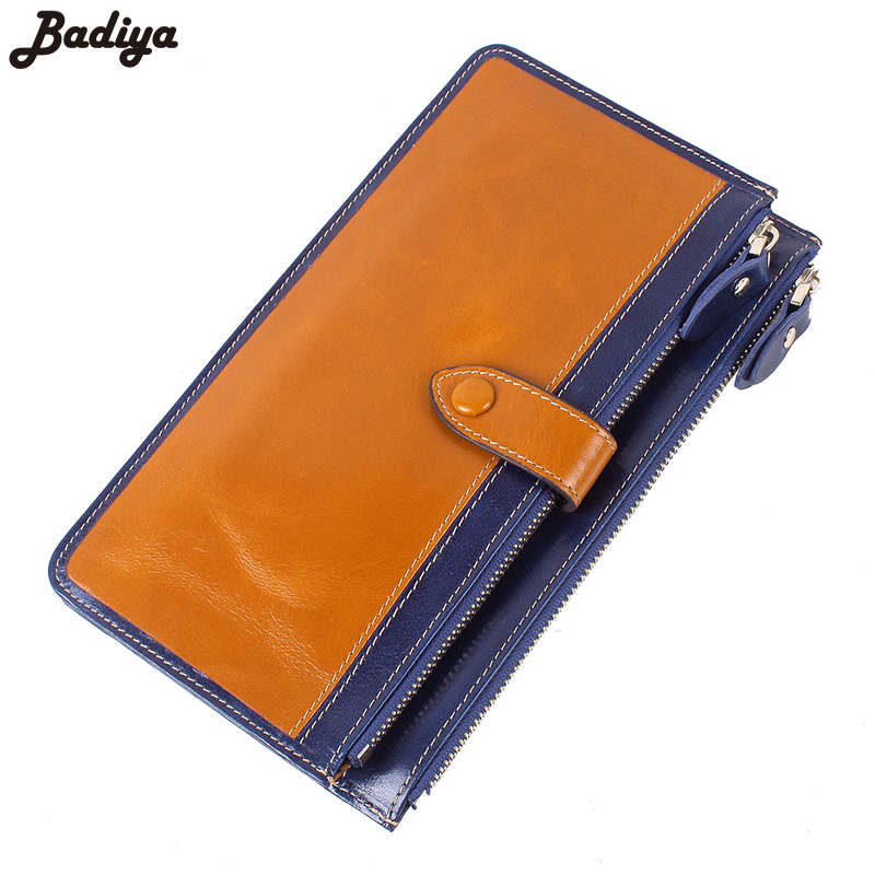 New Women's Cow Leather Wallet Solid Genuine Leathe Long Clutch European Style Ladies Fashion Card Holder Female Purse teemzone top european and american fashion evening bag ladies genuine leather long style hasp note compartment wallet j25