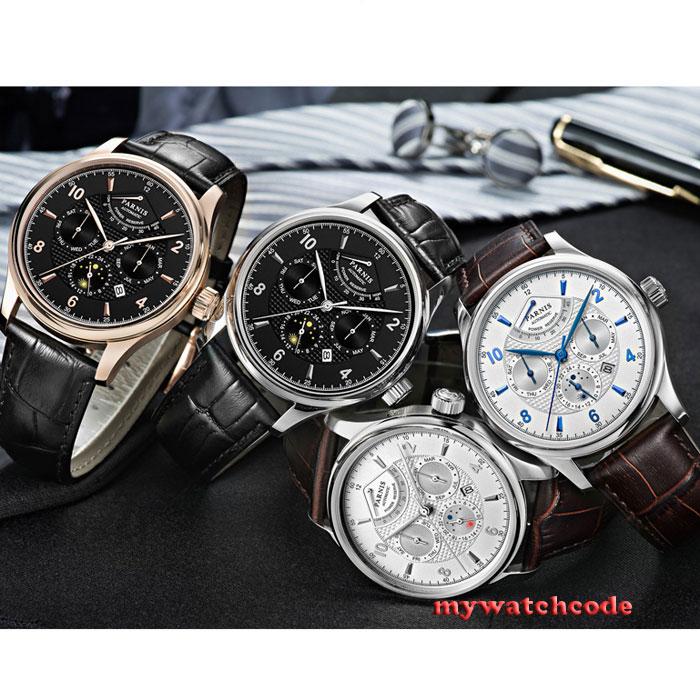 Marque de luxe 42mm parnis cadran noir cadran blanc Date 24 heures réserve de marche Phase de lune miborough 9100 automatique montre-bracelet homme P560