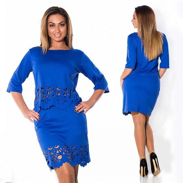 Элегантный Sexy 2 шт. набор лето женщины платья большой размер НОВЫЙ 2017 плюс размер женщин одежда L-6xl dress casual о-образным вырезом bodycon Dress