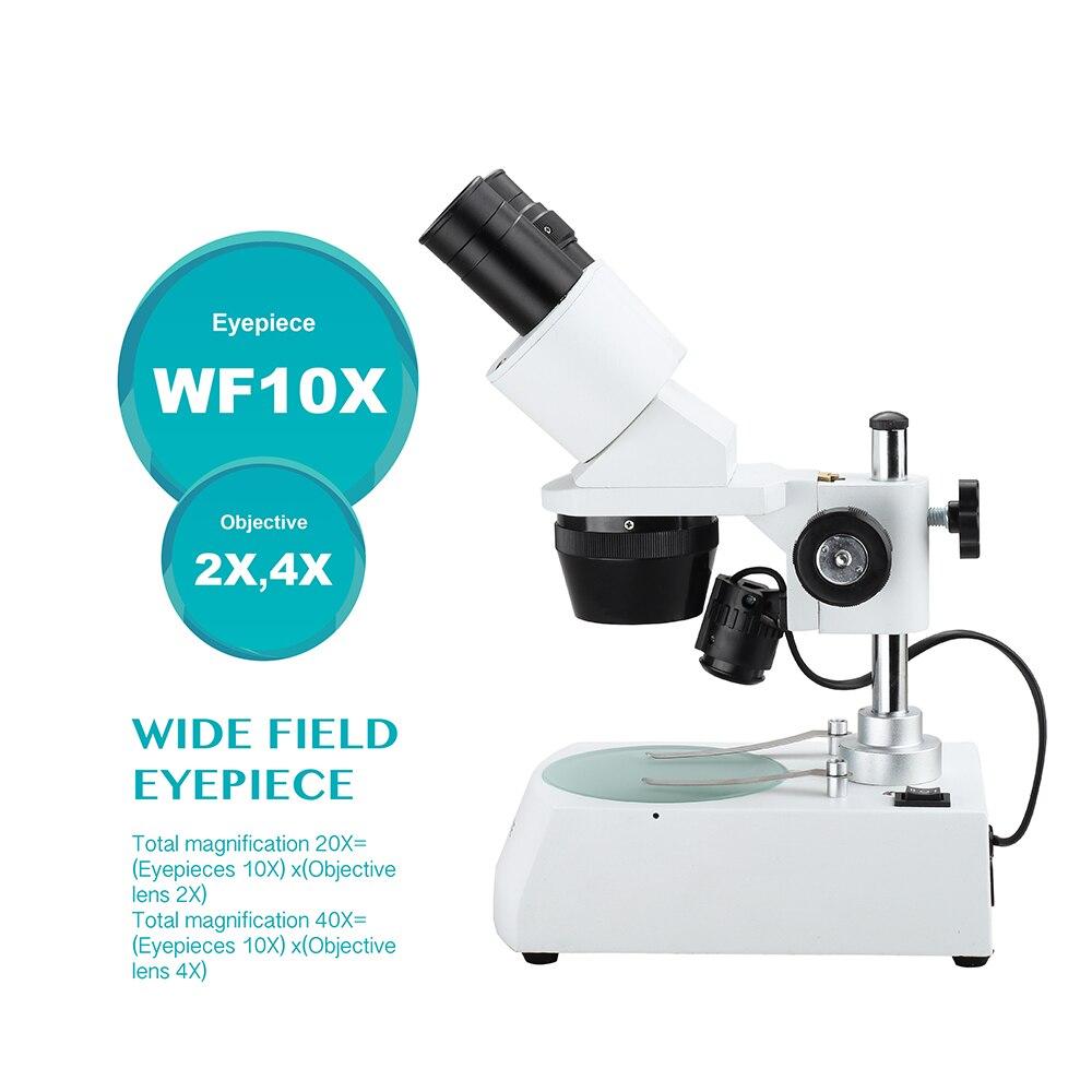 AOMEKIE 20X / 40X Microscopio stereo industriale Binoculare In alto a - Strumenti di misura - Fotografia 2