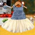 2016 Hot selling Baby crianças meninas roupas verões Denim plissado Tutu vestido macacão vestido ocasional idade 6M-4Y Outfits