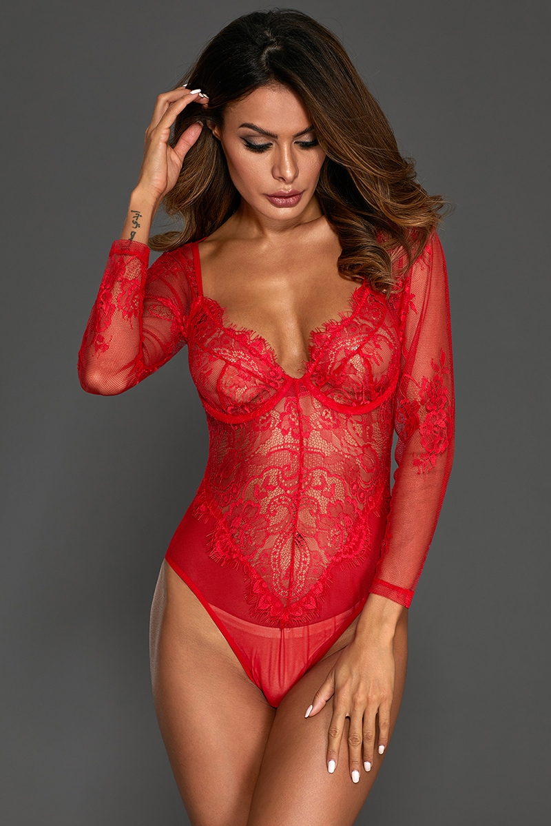 Red-Long-Sleeve-Underwire-Lace-Bodysuit-LC32299-3-3