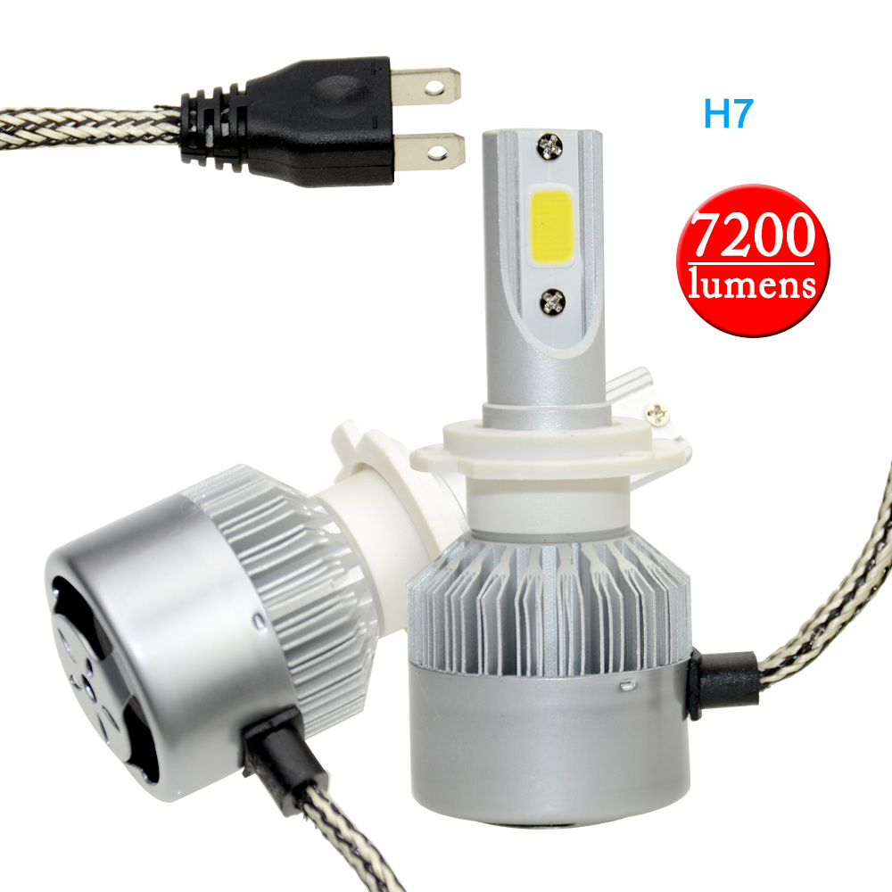 Okeytech C6 Car Headlight H7 Fog Lamps LED H7 Light 7200LM 6000K 12V 72W Automobile Vehicle Headlamp front fog LED bulb lamp 2pcs set 72w 7200lm h7 cob led car headlight headlamp auto lamps led kit 6000k headlight bulb light car headlight fog light