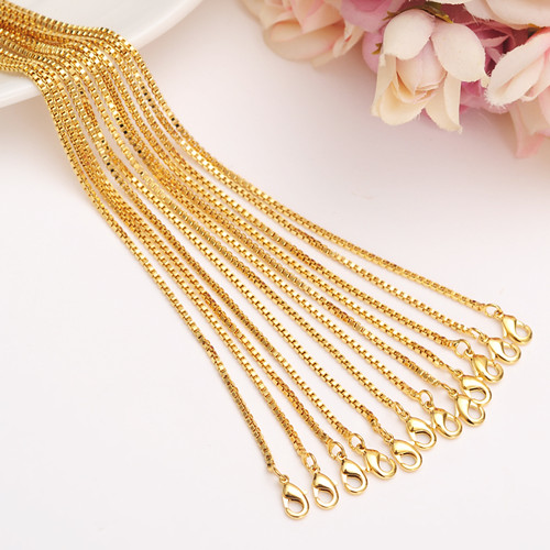 24k Fine Solid Gold Finish Select Girl Women/men 12pcs/lot Assemble Length 50cm Wholesale Small Size Chain Thin Necklaces Fixing Prices According To Quality Of Products Jewelry & Accessories Chain Necklaces