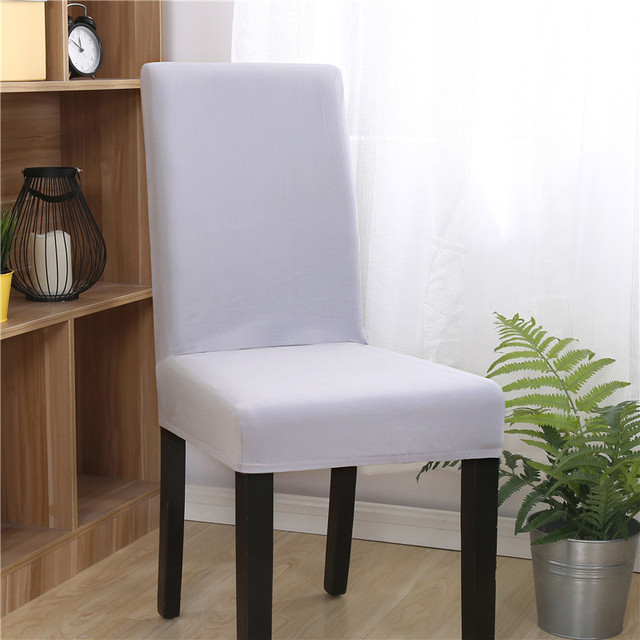 Solid Color Elastic Fitted Chair Covers For Weddings Stretch Spandex Removable Kitchen Dining Room Xmas