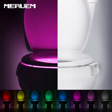 1pcs Smart Bathroom Nightlight LED Body Motion Activated On/Off Seat Night Light Toilet lamp 8 colors