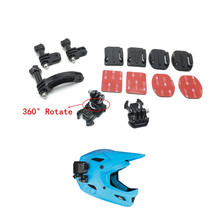 Helmet Universal Rotary Extension Arm Mount +Curved Adhesive Stickers Base For gopro hero 7/6/5/4/3/3+/2/1