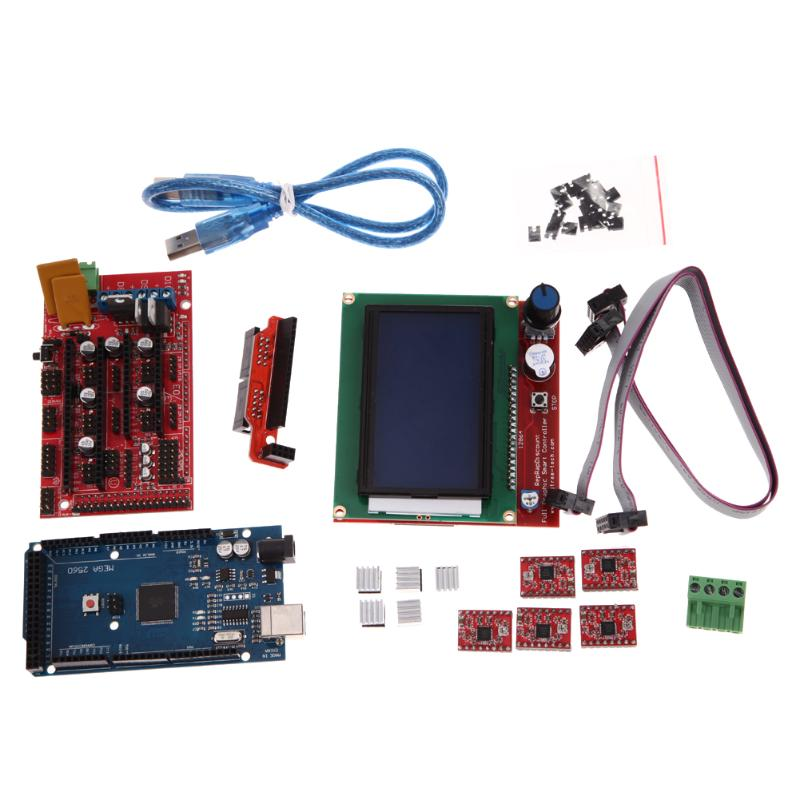 3D Printer Kit RAMPS 1.4 MEGA2560 A4988 LCD 12864 Controller Board with FC flat cable USB cable For 3D Printer RepRap 3d printer driver controller rumba usb cable
