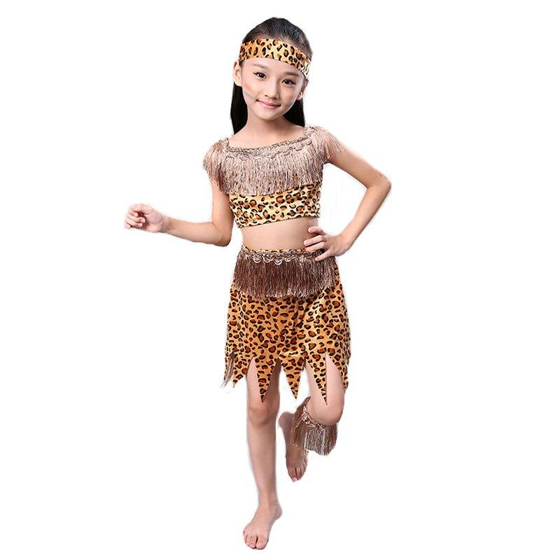 Kinder Savage Caveman Kostüme Jungen Leopard Afrikanische Tribal Hunter Kleidung Für Mädchen Leistung Kostüme Cosplay Kleid Sparen Sie 50-70%