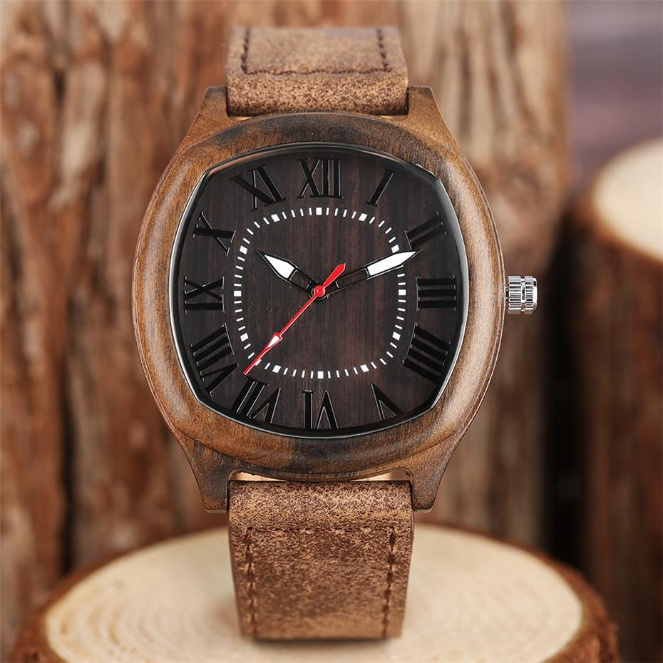 YISUYA Bamboo Wooden Watch Men Quartz Leather Band Analog Creative Watches Roman Numerals Dial Unqiue Shape Fashion Clock Gift (18)