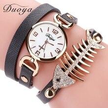 c7e133974 Duoya العلامة التجارية حار بيع الأزياء الفاخرة رخيصة النساء ساعة اليد  الأسماك العظام أشرطة جلدية ساعة