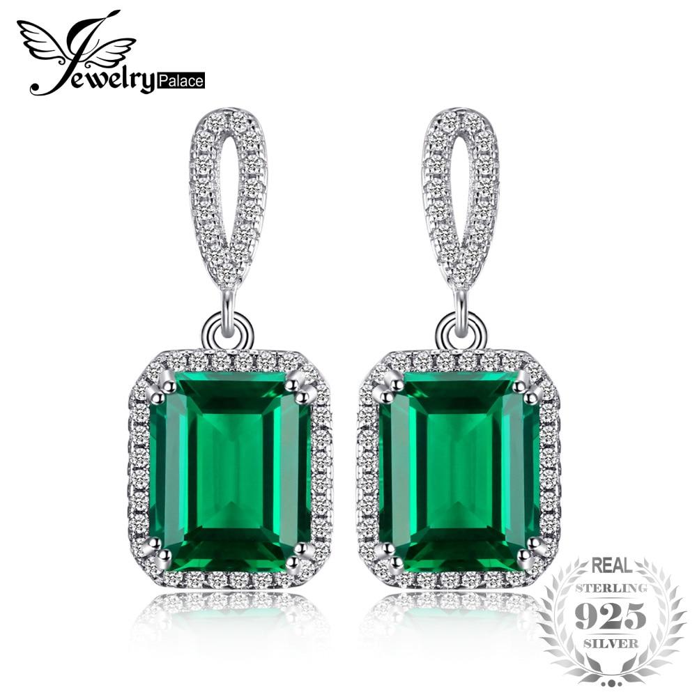 JewelryPalace De Luxe 8ct Créé Emerald Boucles D'oreilles Balancent Véritable Réel Solide Pur 925 Sterling Argent Nouveau De Mode Pour Femmes